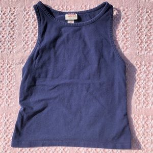 Mossimo Navy Blue High Neck Cropped Tank Top